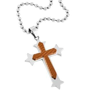 Men's Stainless Steel and Rose Ion Plated Cross Pendant