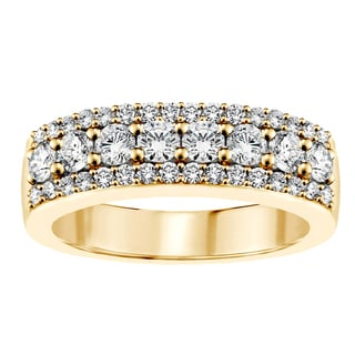 14k or 18k Yellow Gold 1ct TDW Round Diamond Wedding Band