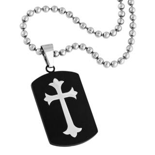 Men's Stainless Steel Dog Tag with Cross Pendant