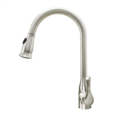 Cosmo Single-Handle Pull-Down Sprayer Kitchen Faucet with Ceramic Disc Valve in Brushed Nickel