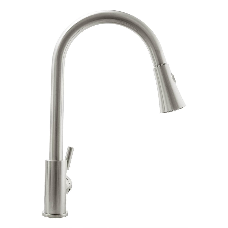 Single Handle Chrome Plated Kitchen Faucet w//Ceramic Cartridge /& Spray Lead-Free