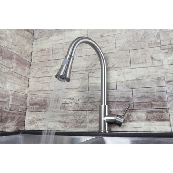 Cosmo Single Handle Pull Down Sprayer Kitchen Faucet With Ceramic Disc Valve In Brushed Nickel Overstock 12860313