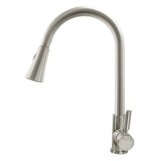 Cosmo Brushed Nickel Brass Single-hole Pull-down Kitchen Faucet
