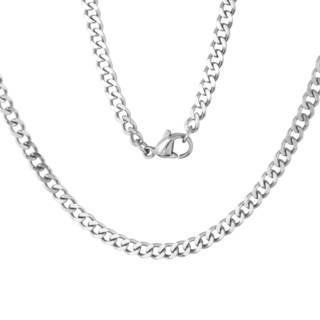 Mens Stainless Steel 4 mm Curb Chain Necklace
