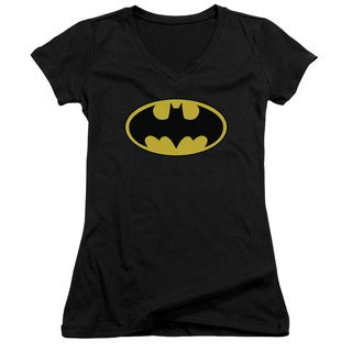 Batman/Classic Logo Junior V-Neck in Black