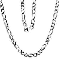 Men's Stainless Steel 5mm Figaro Chain Necklace - Silver