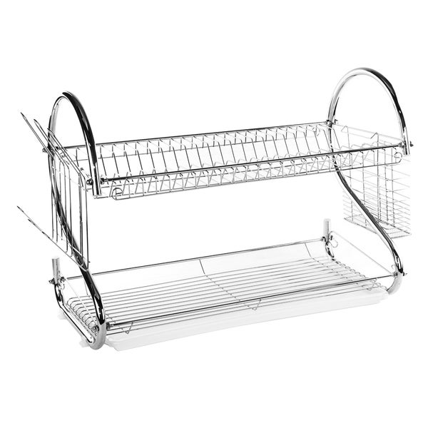 shop imperial home stainless steel 22 inch space saver dish drainer drying rack silver free. Black Bedroom Furniture Sets. Home Design Ideas