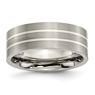 Titanium Sterling Silver Inlay Flat 8mm Brushed Band (More options available)