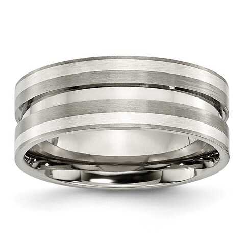 Titanium Grooved Sterling Silver Inlay 8mm Brushed Band