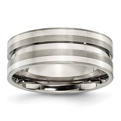 Chisel Titanium Grooved Sterling Silver Inlay 8mm Brushed Band
