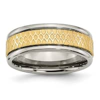Titanium 8mm Yellow Ridged Edge Fancy Brushed Band