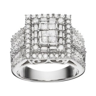 JewelMore 10k White Gold 2ct TDW Diamond Ring Size 7 (H-I, I2-I3)