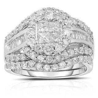 JewelMore 10k Gold 2ct TDW Diamond Round Halo Engagement Bridal Set (H-I, I2-I3)