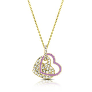 Molly and Emma Gold Overlay Cubic Zirconia and Purple Enamel Hearts Necklace