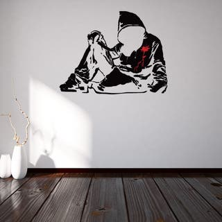 Banksy 'Bloody Hoodie With Knife' Vinyl Sticker/Mural/Wall Decal Home Art Decor https://ak1.ostkcdn.com/images/products/12860806/P19623354.jpg?impolicy=medium