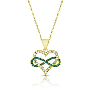 Molly and Emma Gold Overlay Cubic Zirconia and Green Enamel Heart and Infinity Design Necklace