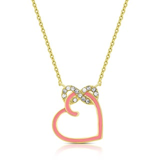 Molly and Emma Gold Overlay Cubic Zirconia Infinity and Pink Enamel Heart Necklace