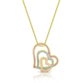 Molly and Emma Gold Overlay Enamel Graduated Hearts Necklace