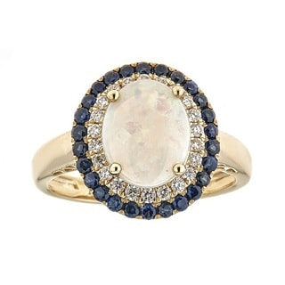 Anika and August 14k Yellow Gold Australian Opal, Blue Sapphire and 1/4ct TDW Diamond Ring (G-H, I1-I2)