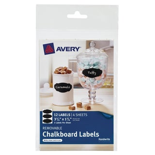 """Avery 73304 1-3/4"""" X 3-3/4"""" Black Removable Chalkboard Labels 12 Count"""