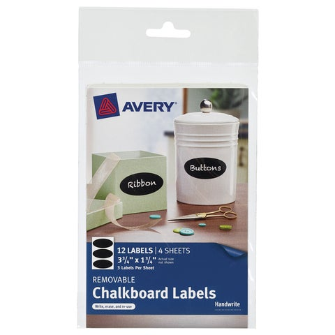 """Avery 73303 10-3/4"""" X 3-3/4"""" Black Removable Chalkboard Labels 12 Count"""