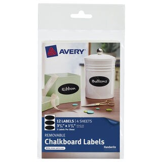 "Avery 73303 10-3/4"" X 3-3/4"" Black Removable Chalkboard Labels 12 Count"
