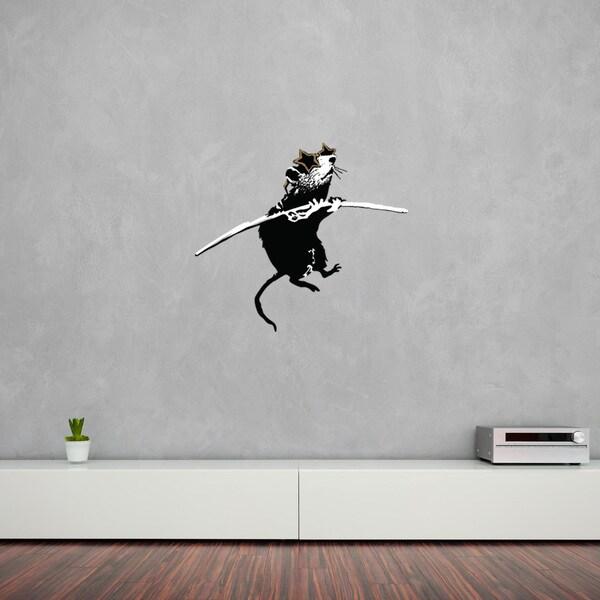 Acrobat Rat with Shades\' Banksy Vinyl Wall Decal, Sticker, Mural Art ...