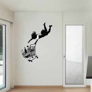 Banksy 'Fall Shopping Cart' Vinyl Wall Art Decal Sticker
