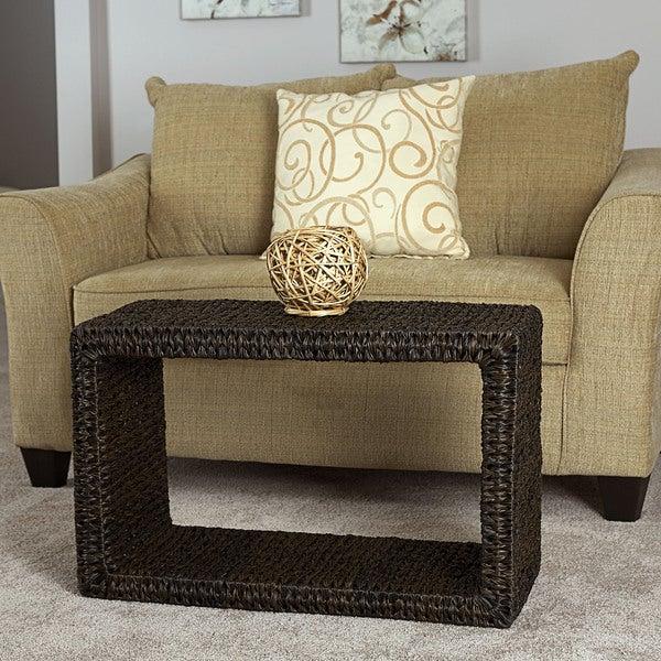 Shop Water Hyacinth Espresso Resin Wicker Coffee Table
