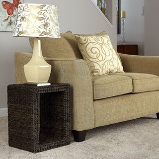 Water Hyacinth Espresso Resin Wicker End Table