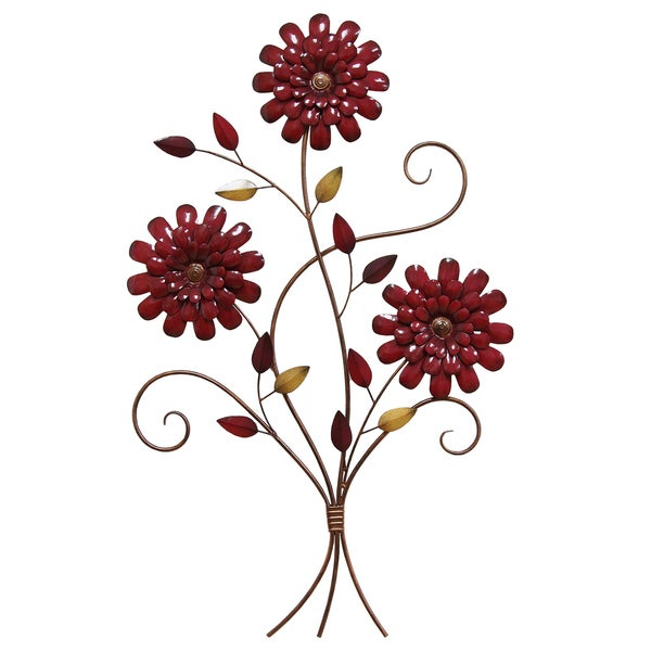 Stratton Home Decor Red Metal Floral Bouquet Wall Art