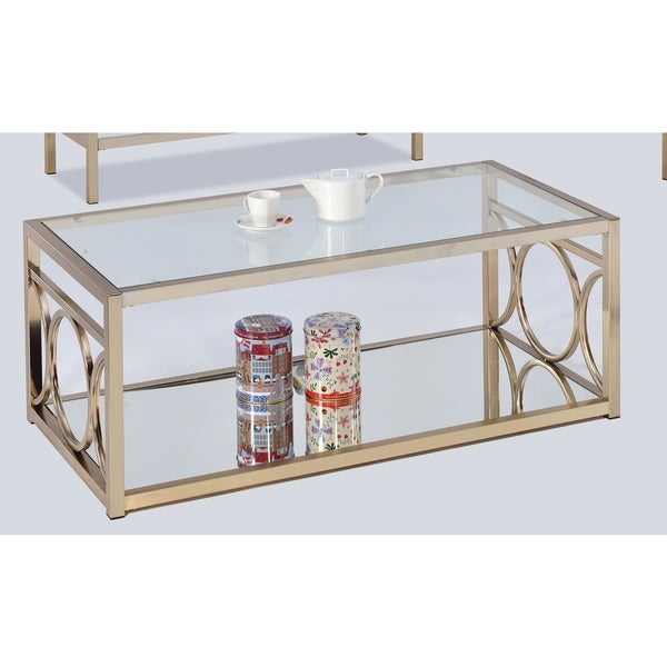 Lyke Home Goldtone Metal Glass Contemporary Coffee Table