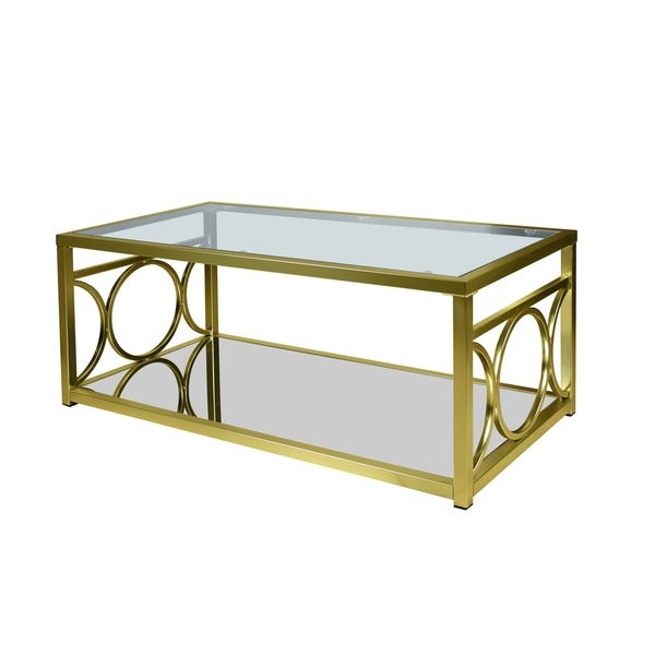 Glass And Metal Coffee Table With Shelf: LYKE Home Goldtone Metal/ Glass Contemporary Coffee Table