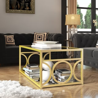 LYKE Home Goldtone Metal/ Glass Contemporary Coffee Table with Mirrored Shelf