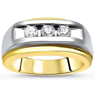 14k White and Yellow Gold Band with 1/2 ct of Round-Cut 3-Diamond Men's Ring