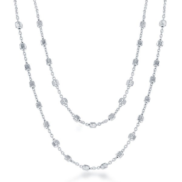 La Preciosa Sterling-silver Double-strand Square Beads Necklace