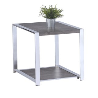 LYKE Home Weathered Taupe Metal/ Veneer End Table