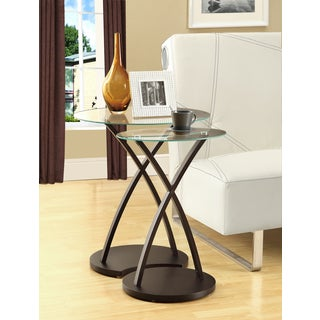 LYKE Home Cappuccino Wood/ Glass Modern Nesting-style End Tables