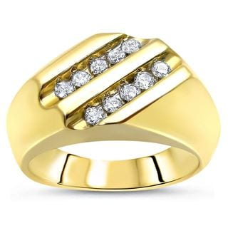 Noori 10k Yellow Gold 1/2ct TDW Round Diamond Men's Ring Band
