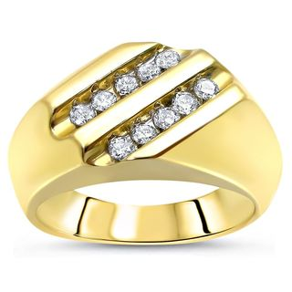 Noori 10k Yellow Gold 1/2ct TDW Round Diamond Men's Ring Band (J-K, I1-I2)