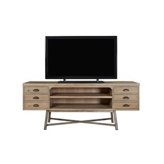 Authenticity Rustic Brown Poplar Wood Rectangle Entertainment Console