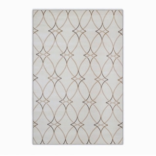Plaza Style Ivory/Grey/Brown Olefin Geometric Area Rug (3'3 x 4'11)