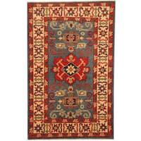Handmade Herat Oriental Afghan Tribal Kazak Wool Rug  - 2'7 x 4'2 (Afghanistan)