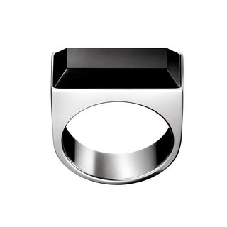 Calvin Klein Women's Bright Stainless Steel Glass Stone Size 5 Fashion Ring