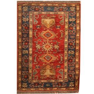 Herat Oriental Afghan Hand-knotted Tribal Kazak Wool Rug (2'10 x 3'10)