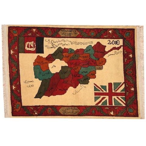 Handmade One-of-a-Kind Turkoman Wool Rug (Afghanistan) - 2'6 x 3'6