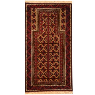 Herat Oriental Afghan Hand-knotted Tribal 1920's Antique Balouchi Wool Rug (2'4 x 4'4)