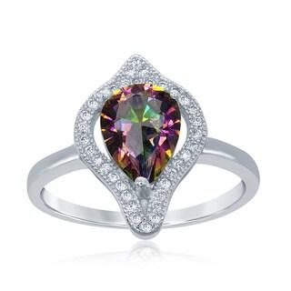 La Preciosa White Sterling Silver Teardrop Cubic Zirconia Ring