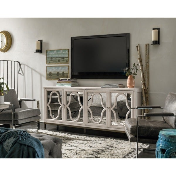 Elan white wood entertainment console free shipping for Today s home furniture