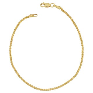 Fremada 14k Yellow Gold Filled 1.5-mm Round Wheat Chain Bracelet (7.5 or 8.5 inches)